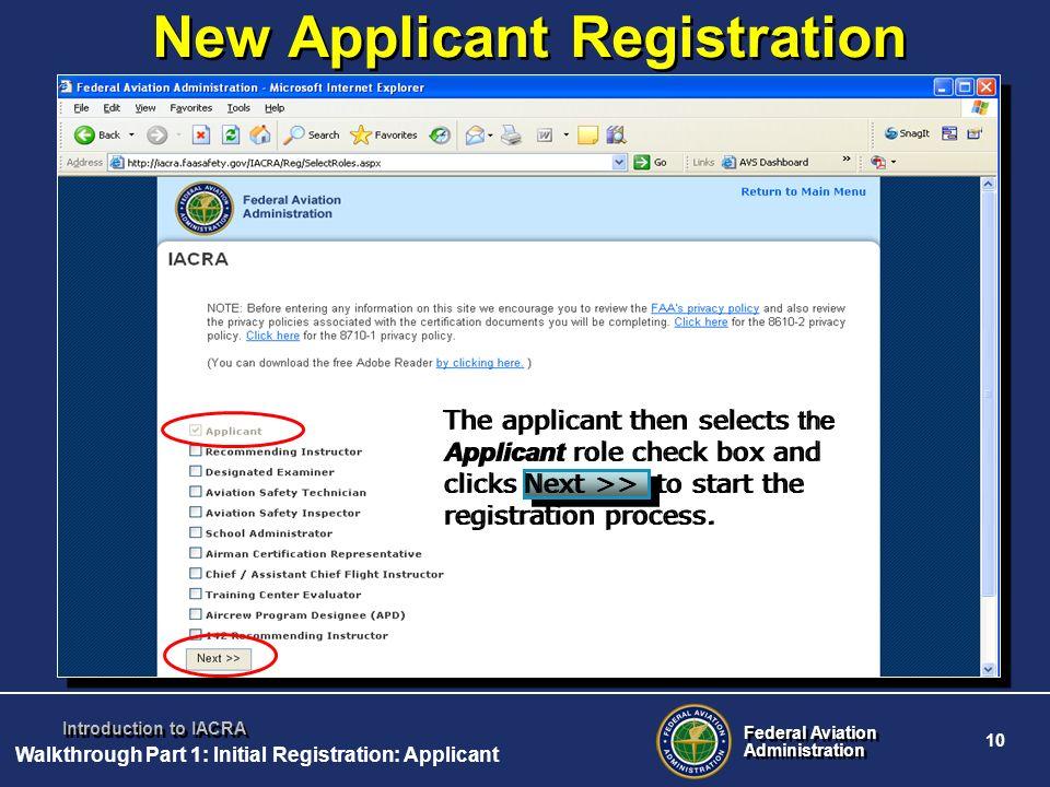 New Applicant Registration