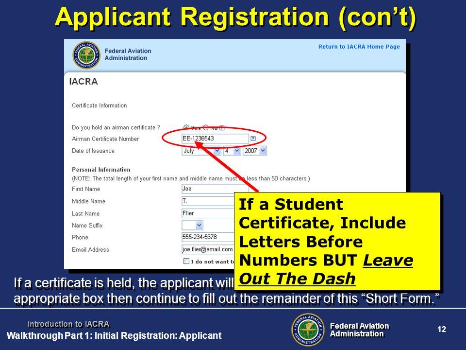 Applicant Registration (con't)