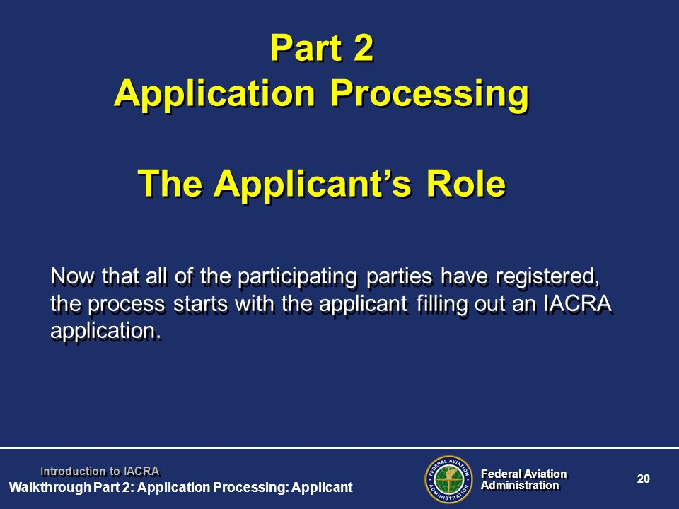 Part 2 Application Processing The Applicant's Role