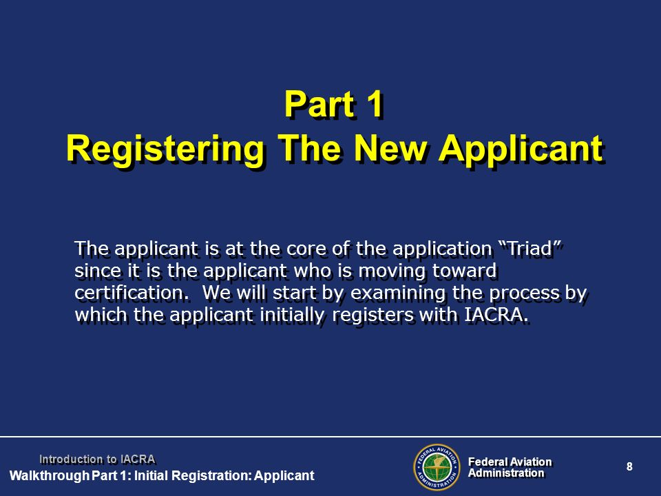 Part 1 Registering The New Applicant
