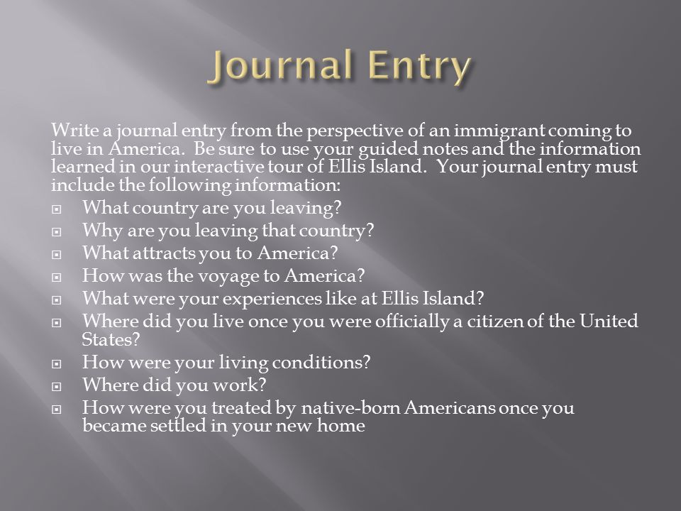 his125 immigration journal entry Journal entry cypop1 operation research  media reaction to immigration food intake marriage for all  his125 week 5.