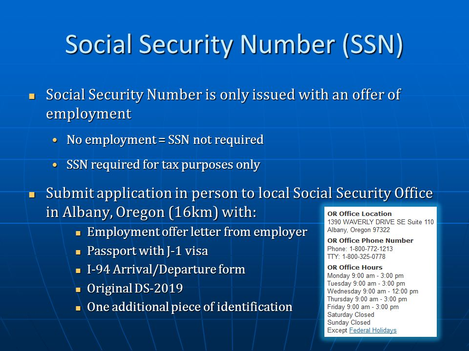 J 1 exchange visitor orientation ppt video online download - Local social security administration office ...