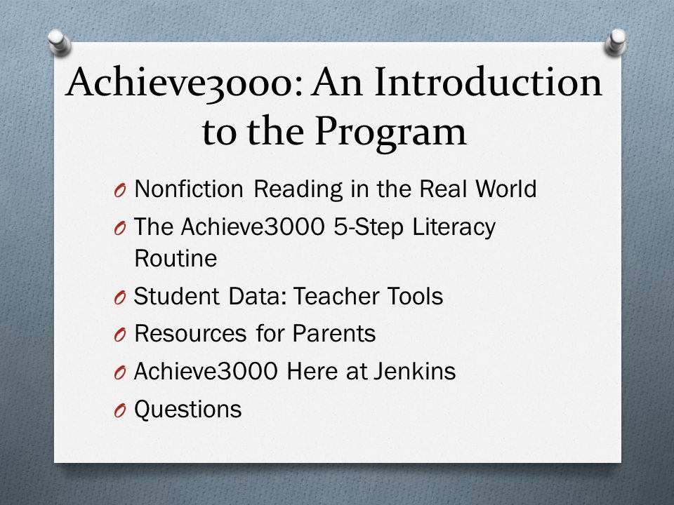 Achieve3000 An Introduction To The Program Ppt Video Online Download