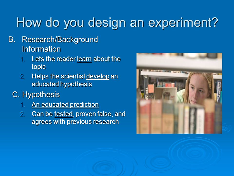 design an experiment I want to share some ideas about teaching design of experiments they are related to something i have often wondered about:.