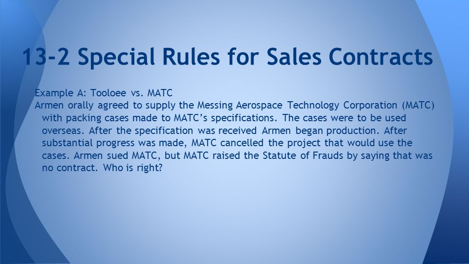 Chapter 13: Sales Contracts - Ppt Download