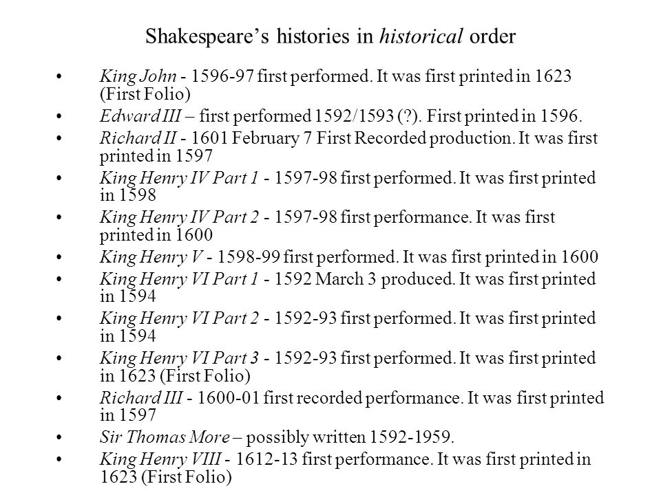 Shakespeare's histories in historical order