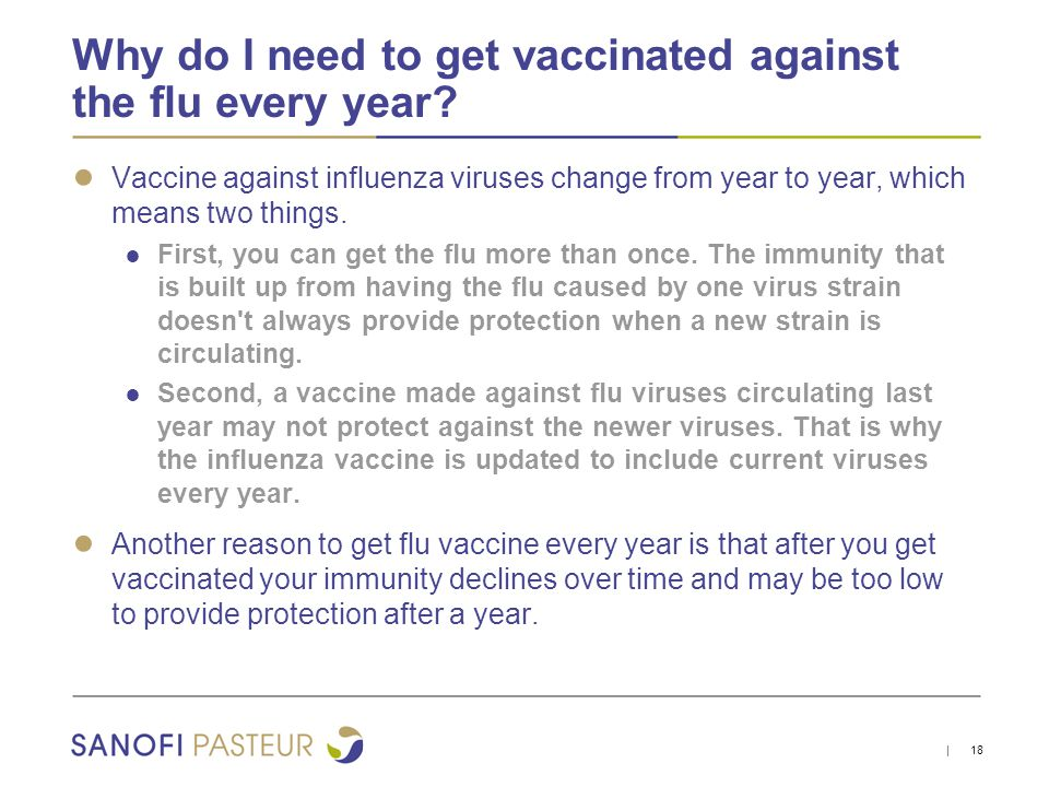 why should i get vaccinated People should get vaccinated against the flu because getting the flu vaccine reduces illness, doctor's visits, missed work or school, hospitalizations.