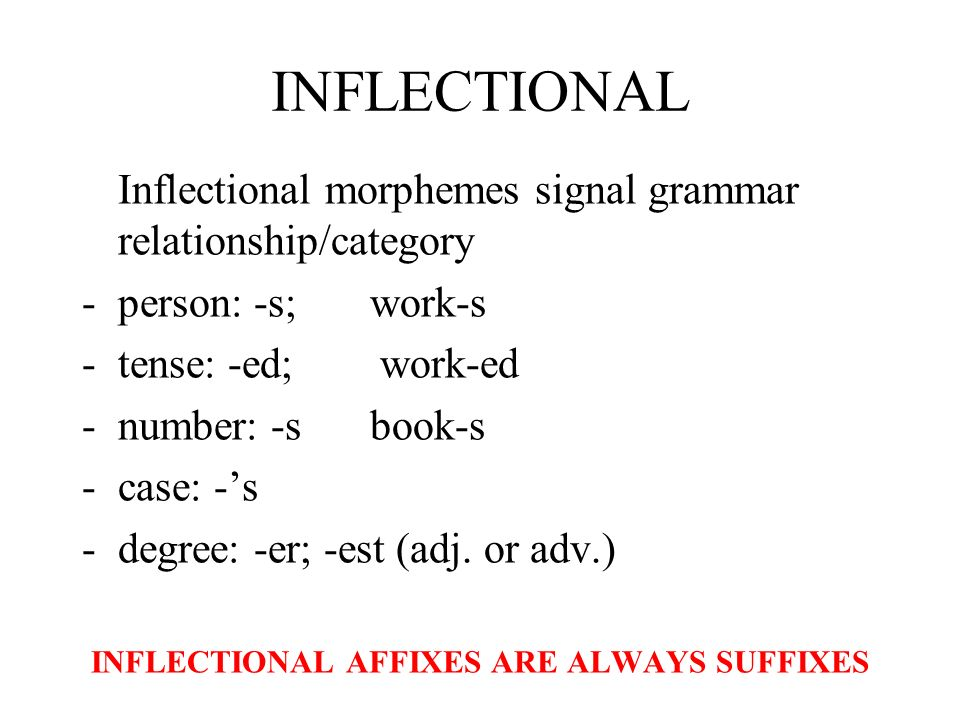 INFLECTIONAL AFFIXES ARE ALWAYS SUFFIXES