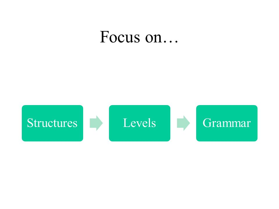 Focus on… Structures Levels Grammar