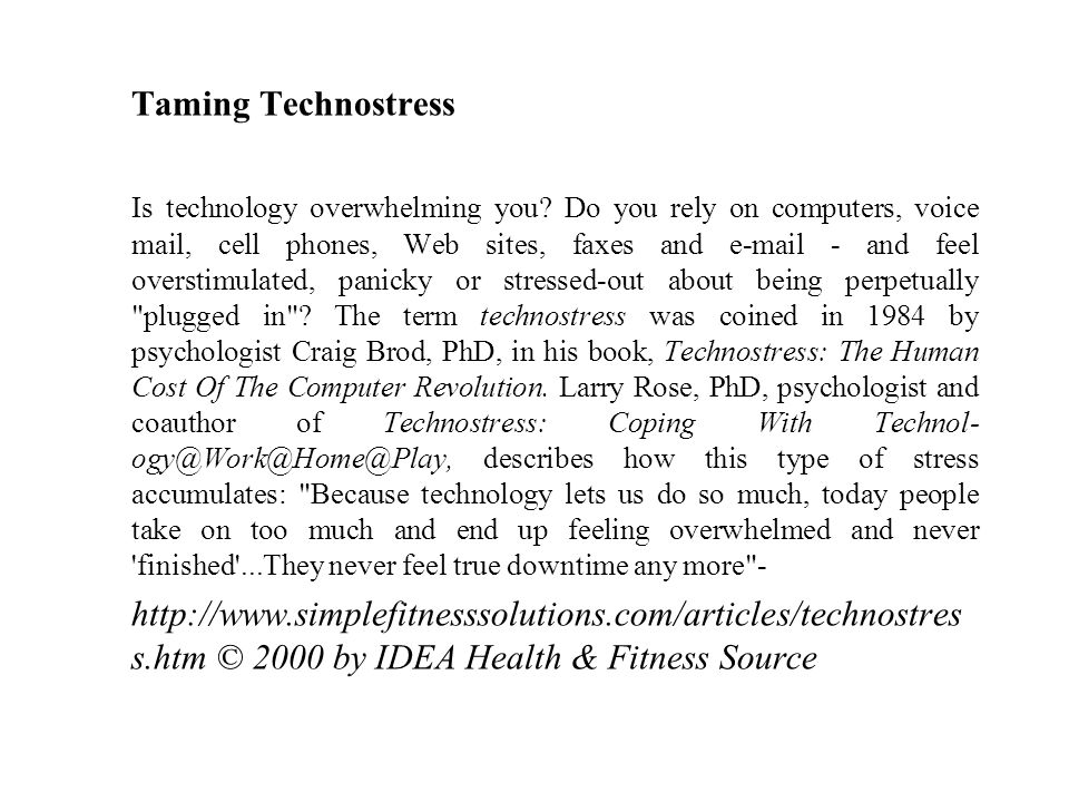 Taming Technostress