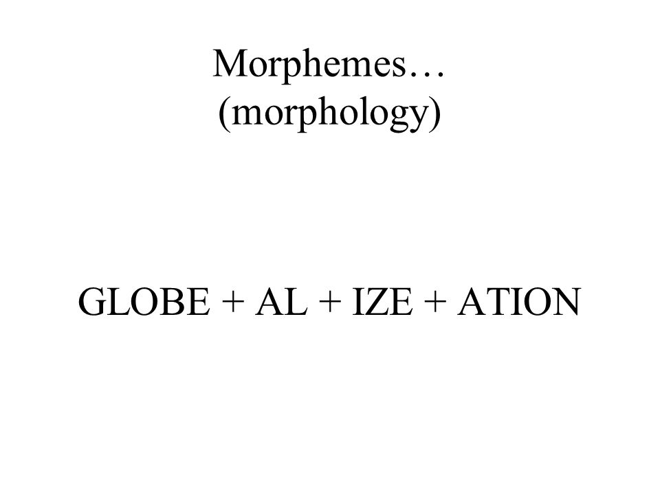 Morphemes… (morphology)