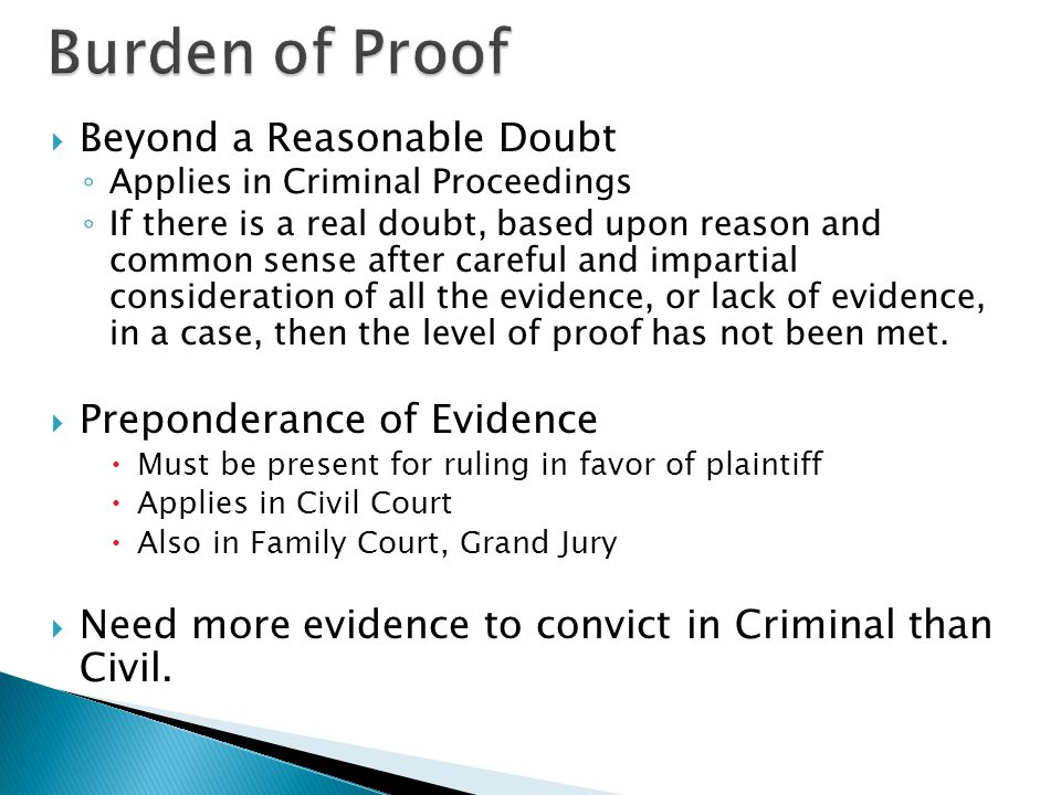 burden of proof in criminal and common cases law essay Trial: evidence & burden of proof course  in handling criminal cases  have each individual student write a short essay answer to the following.
