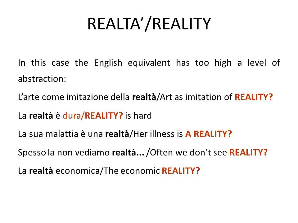 REALTA'/REALITY