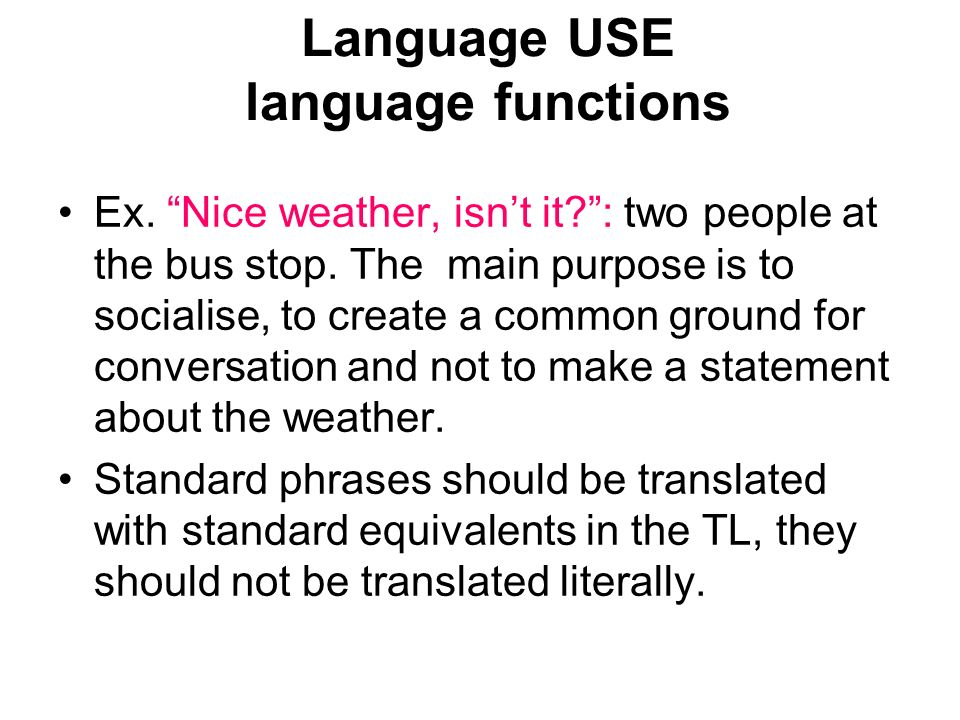 Language USE language functions