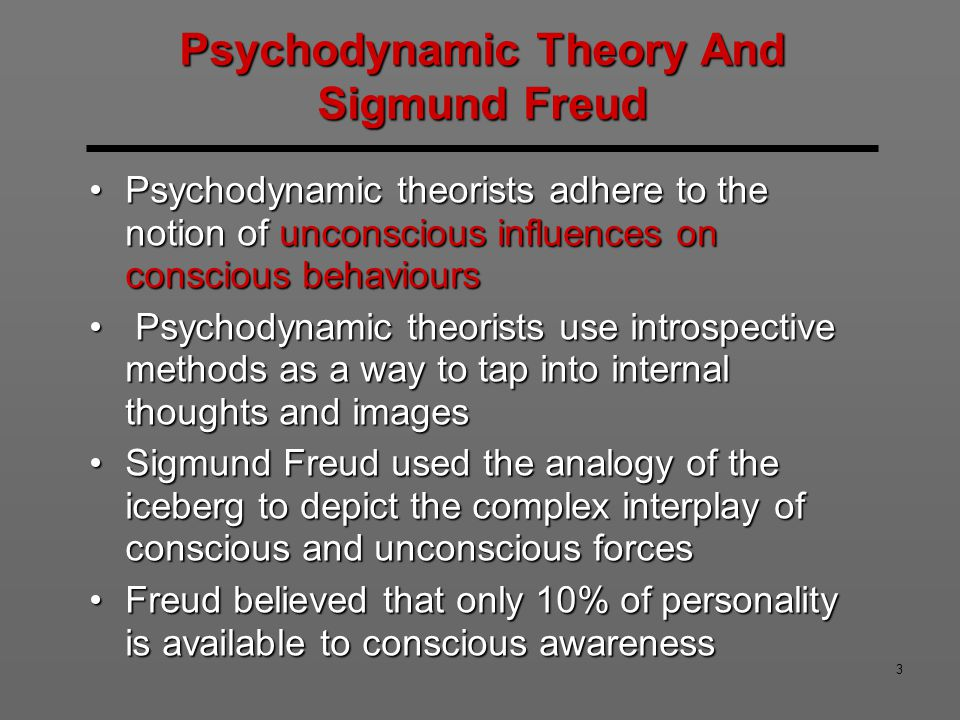sigmund freids psychodynamic theory Discuss freud's psychodynamic theory and compare  about sigmund freud's psychodynamic  between the psychodynamic and the humanistic theory,.