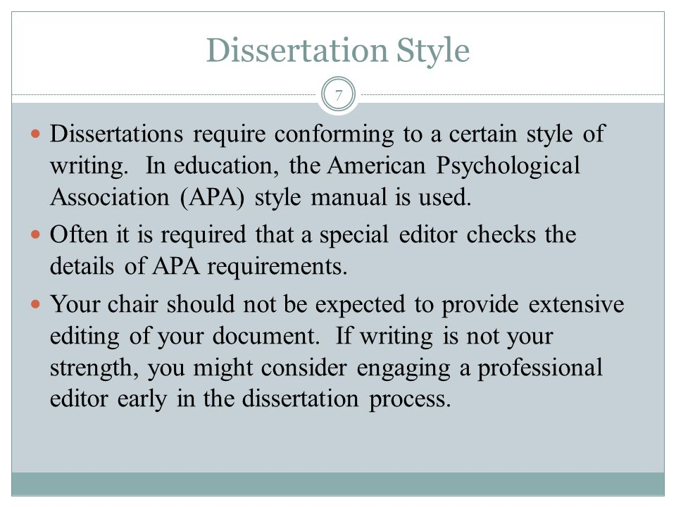 Dissertation Requirements
