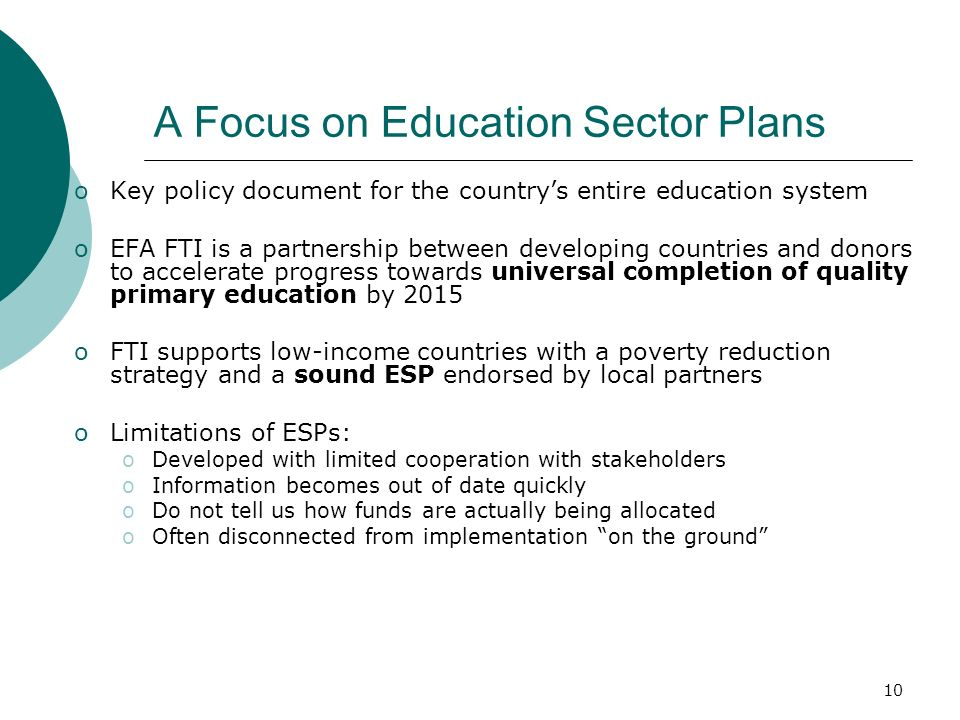 A Focus on Education Sector Plans