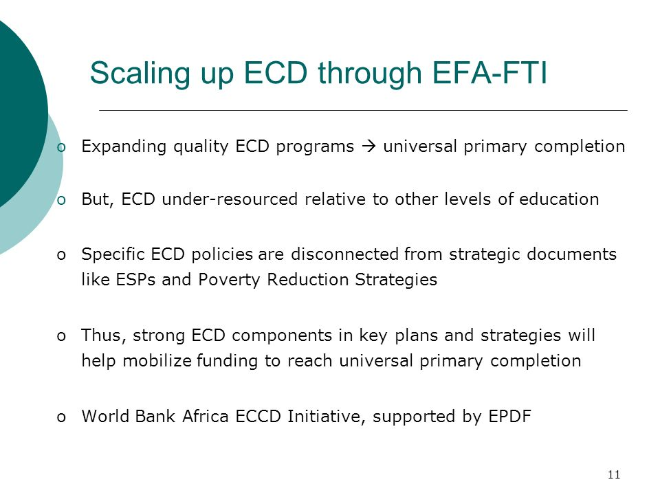 Scaling up ECD through EFA-FTI
