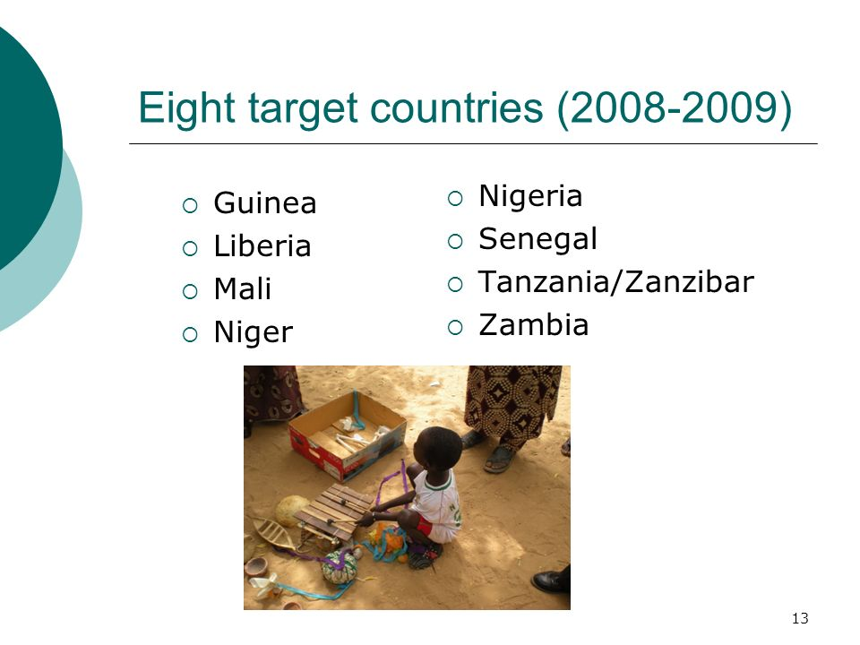 Eight target countries (2008-2009)