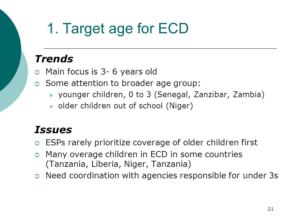 1. Target age for ECD Trends Issues Main focus is 3- 6 years old