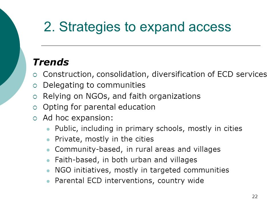 2. Strategies to expand access
