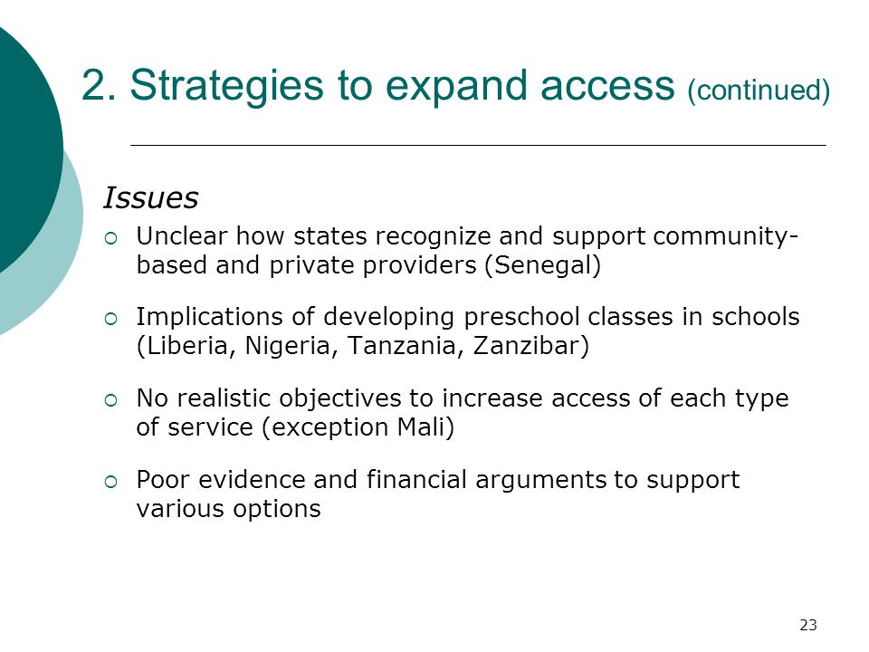 2. Strategies to expand access (continued)