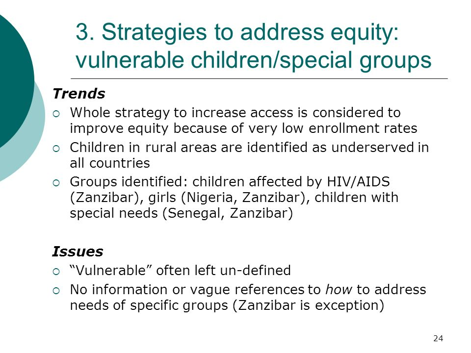 3. Strategies to address equity: vulnerable children/special groups