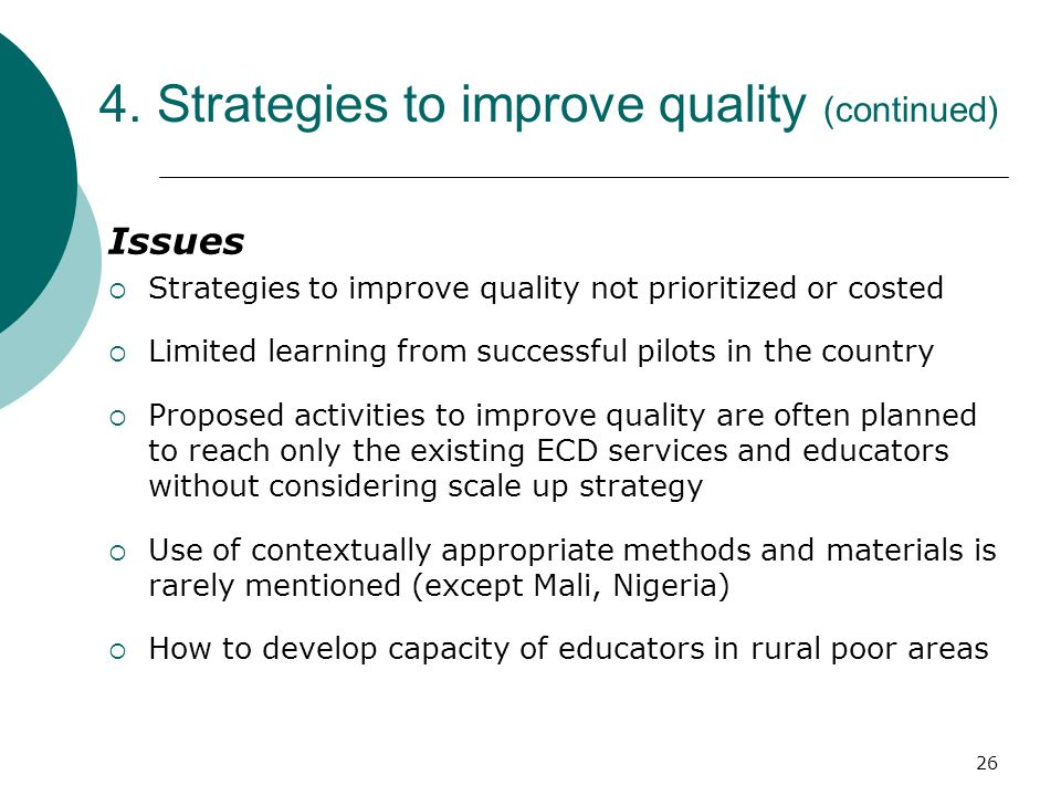 4. Strategies to improve quality (continued)
