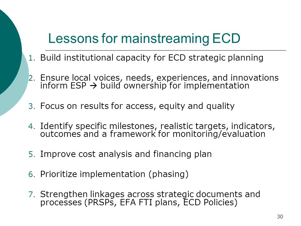 Lessons for mainstreaming ECD