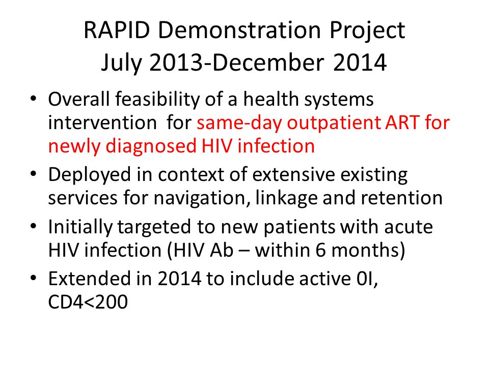 RAPID Demonstration Project July 2013-December 2014