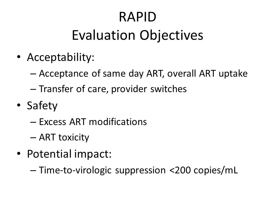 RAPID Evaluation Objectives