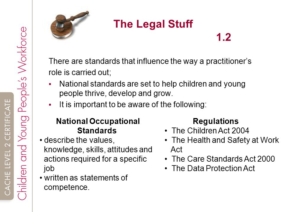 standards that influence the way in which the role is carried out child care I was never able to satisfy people on the committee that i was doing this in the best way for science and for the child  care did harm come out  carried out.