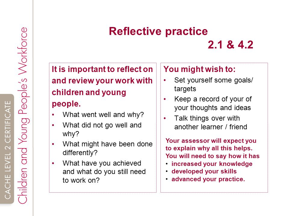 demonstrate the ability to reflect on own practice Reflective practice is a way of studying your own experiences to improve the way  you  the following examples of reflective practice will give you some idea of the   rolfe uses three simple questions to reflect on a situation: what so what.