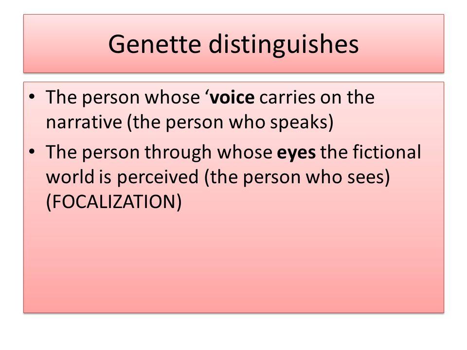 Genette distinguishes