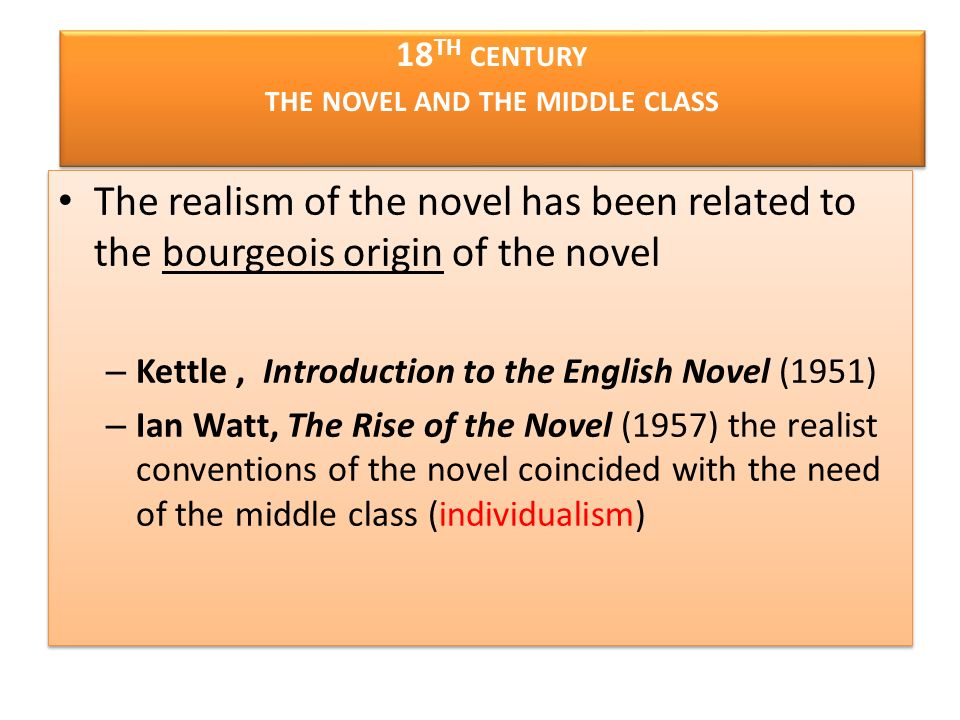 18th century the novel and the middle class