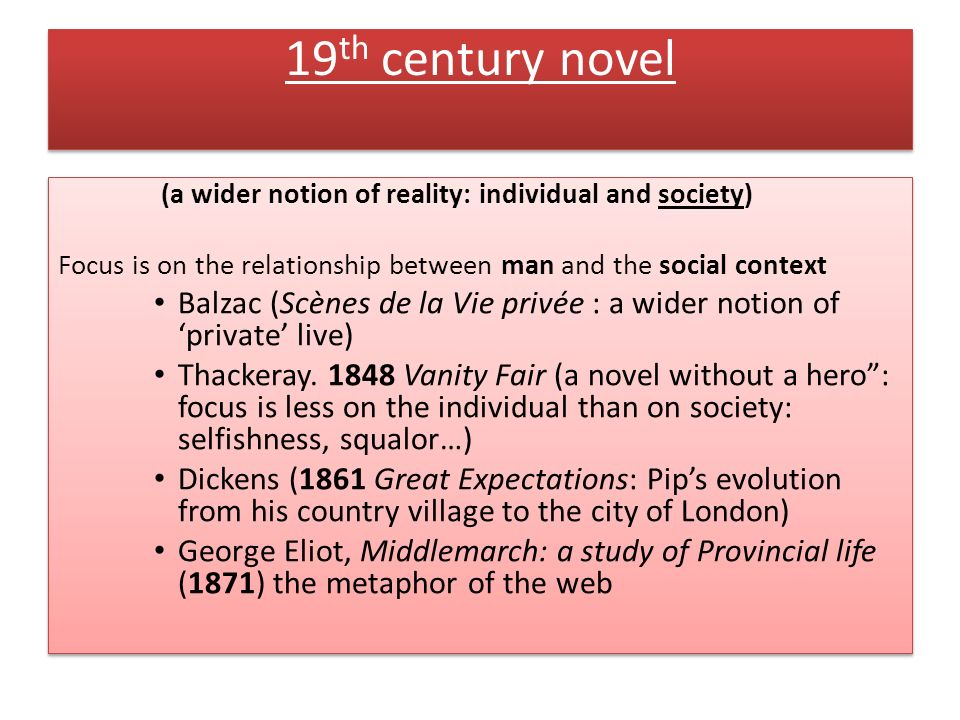 19th century novel (a wider notion of reality: individual and society) Focus is on the relationship between man and the social context