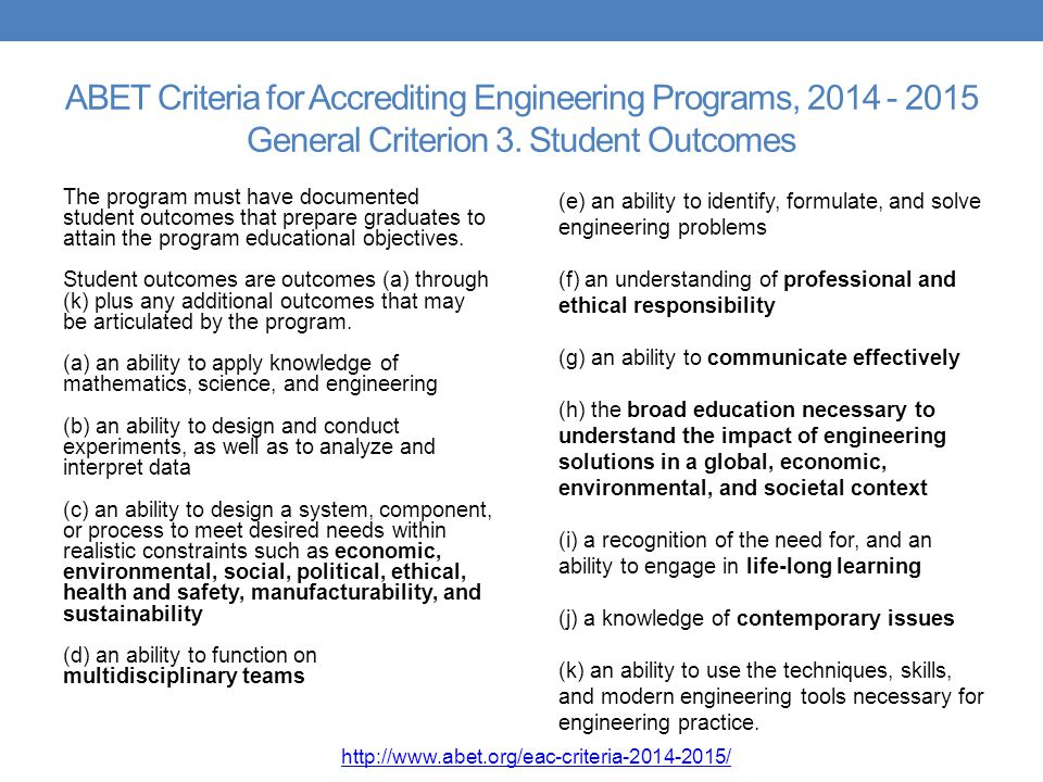 ABET Criteria for Accrediting Engineering Programs, General Criterion 3. Student Outcomes