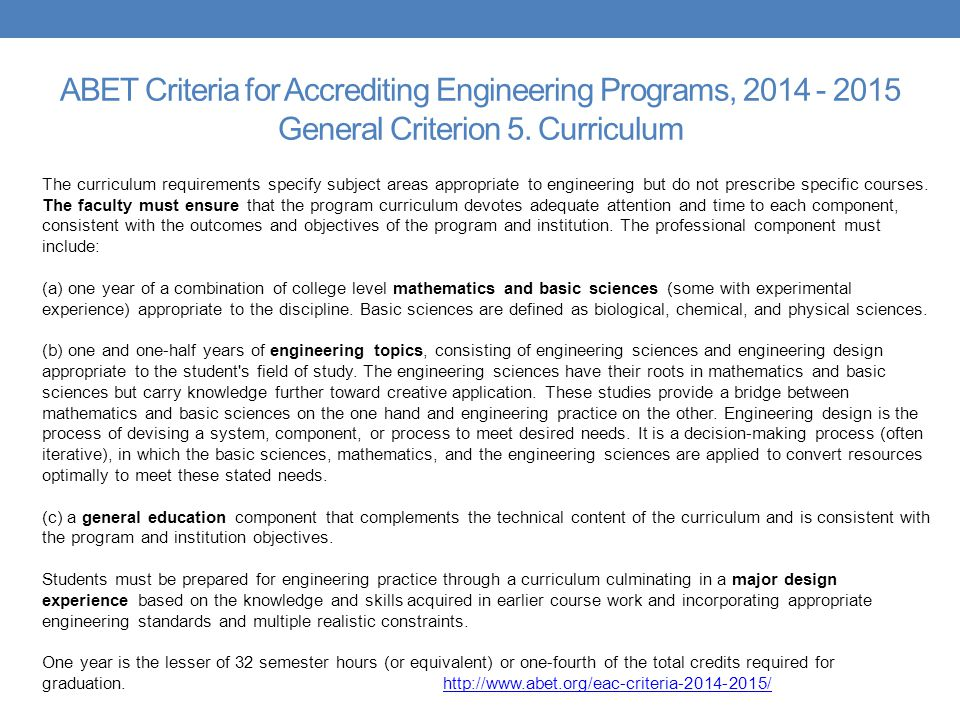 ABET Criteria for Accrediting Engineering Programs, General Criterion 5. Curriculum