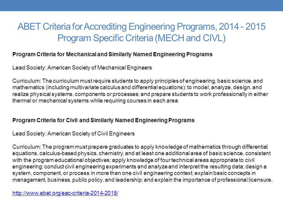 ABET Criteria for Accrediting Engineering Programs, Program Specific Criteria (MECH and CIVL)
