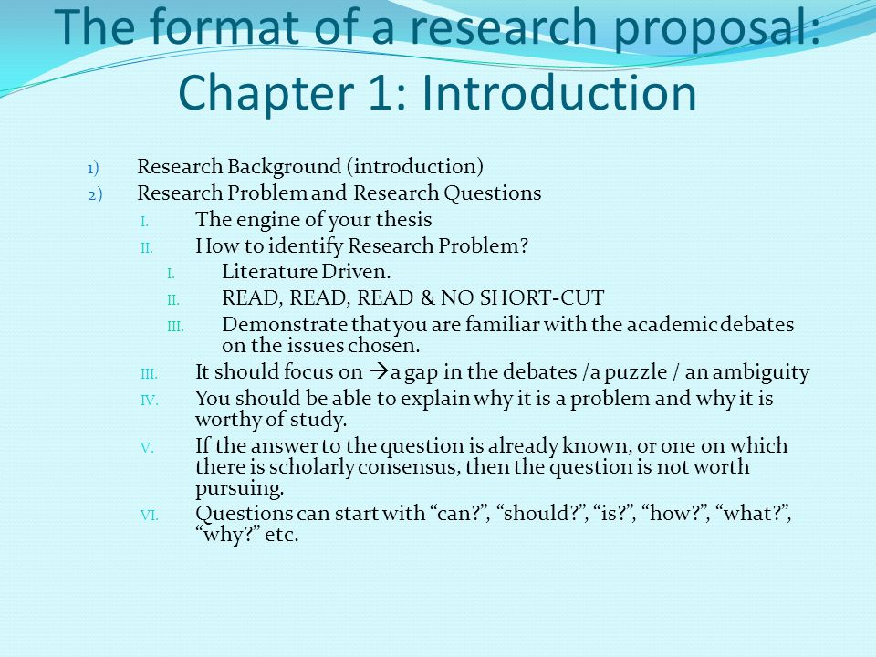 The format of a research proposal: Chapter 1: Introduction