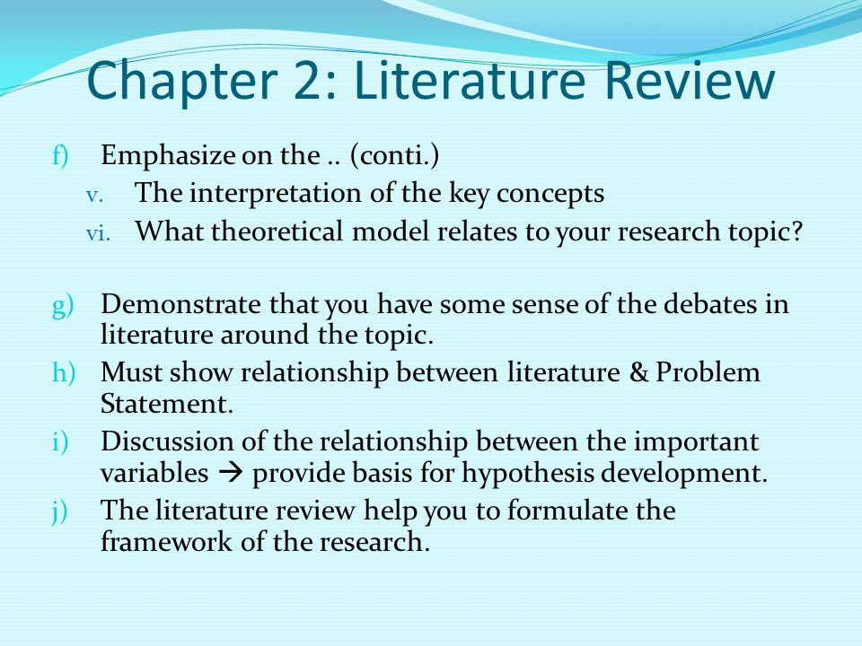 Guidelines for writing a literature review