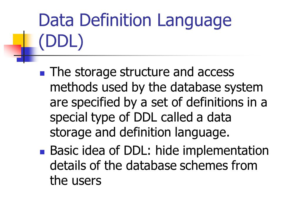 Data Definition Language Ddl