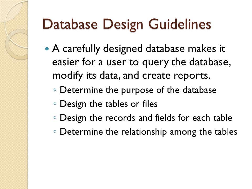 database design guidelines - Database Design Guidelines