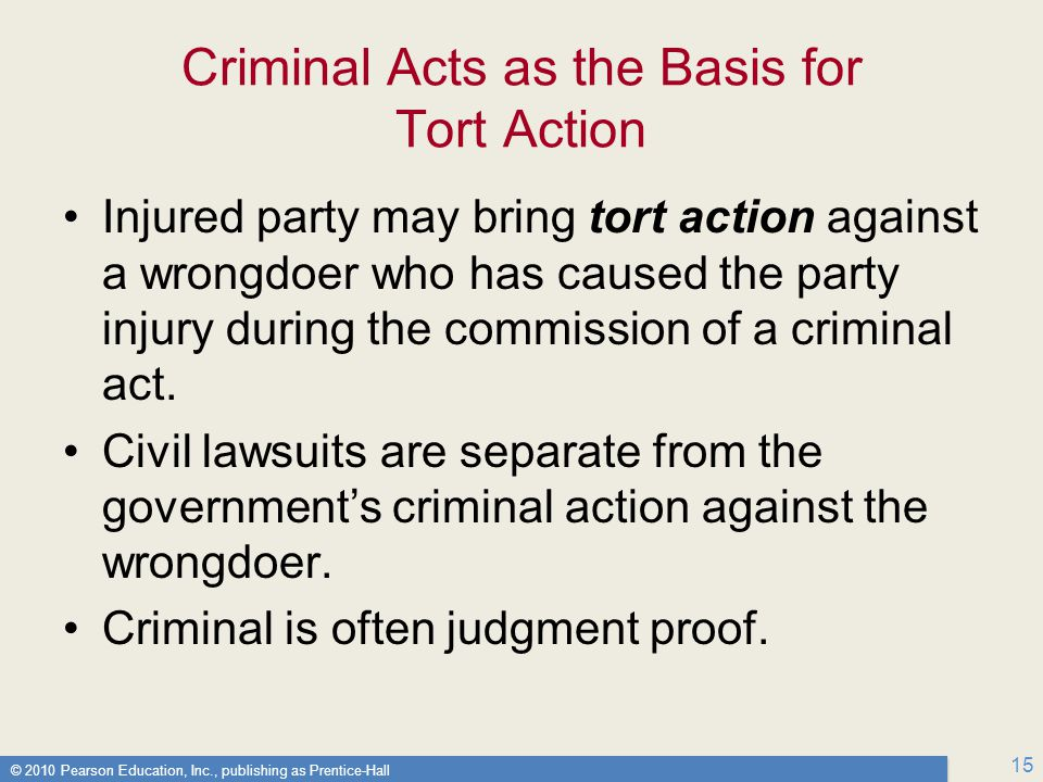 Criminal Acts as the Basis for Tort Action