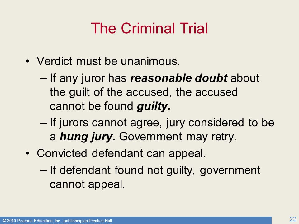 The Criminal Trial Verdict must be unanimous.