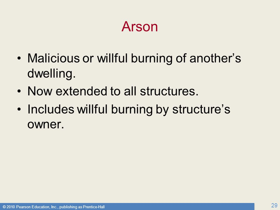 Arson Malicious or willful burning of another's dwelling.