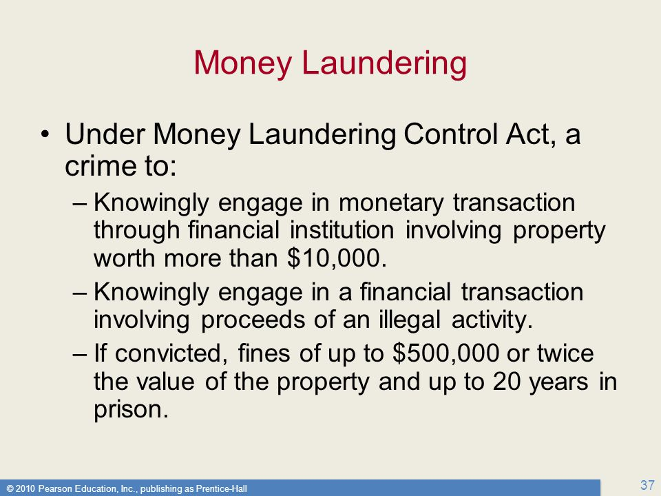 Money Laundering Under Money Laundering Control Act, a crime to: