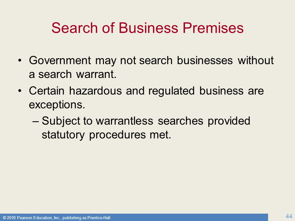 Search of Business Premises