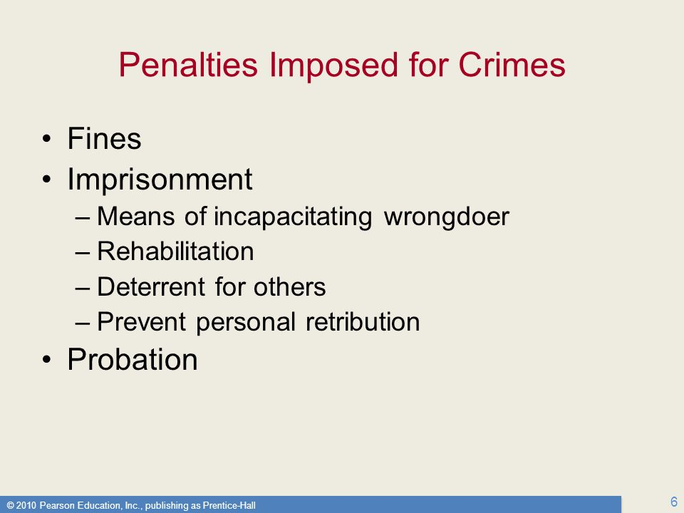 Penalties Imposed for Crimes