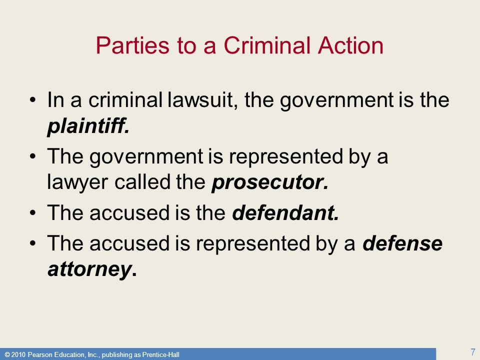 Parties to a Criminal Action